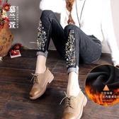 慕蘭萱黑色牛仔褲女秋冬2020新款韓版顯瘦小腳褲加絨高腰鉛筆褲潮