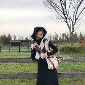 2018秋季韓版復古百搭英倫菱格V領無袖針織背心學院風馬甲毛衣女