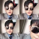 現貨-韓版ulzzang時尚百搭太陽眼鏡網紅同款太陽鏡大框金邊復古雙樑造型抖音男女方框墨鏡紅人多