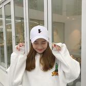 棒球帽 正韓女貓咪刺繡鴨舌帽彎檐可愛學生遮陽帽