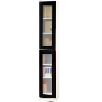 【藝匠】1尺兩門玻璃鏡面PU書櫃 書櫃 書房 房間 家具 置物櫃 櫃子 收藏 組合櫃 (黑)