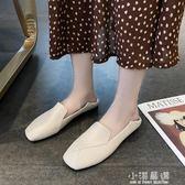 單鞋女2019夏款百搭方頭平底鞋女復古淺口英倫小皮鞋一腳蹬奶奶鞋『小淇嚴選』