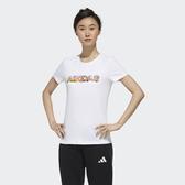 【雙12折後$1180】adidas logo 短袖 短T 休閒 運動 女款 白 夏威夷 椰樹 圖案 FT2918