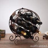 見光鐵藝酒架酒櫃紅酒架擺件創意酒瓶架子歐式家用葡萄酒架裝飾品igo 美芭