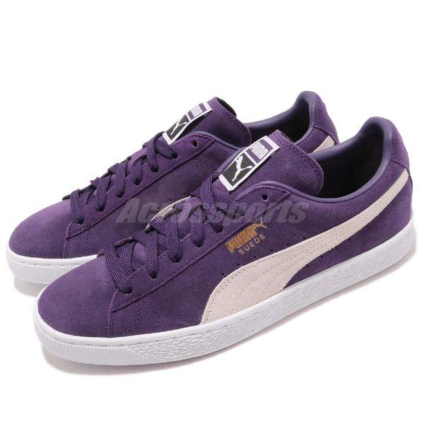 Puma 休閒鞋 Suede Classic 紫 白 麂皮 金標 基本款 男鞋 運動鞋【PUMP306】 36324232