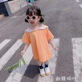 女寶寶中長款T恤裙子夏裝女童學院風洋裝女孩寬鬆洋氣上衣  ◣歐韓時代◥