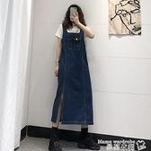 牛仔吊帶裙 深藍色開叉牛仔裙背帶裙女寬鬆夏季復古顯瘦中長款吊帶連身裙春秋 曼慕