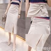 雙11包臂裙2020夏季新款赫本風半身裙中長款開叉包臂一步裙高腰顯瘦過膝長裙