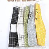 圍裙 日式工作服北歐全純棉布藝防油清潔廚房家居咖啡店面包店半身圍裙 童趣潮品