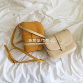 韓國時尚純色單肩半圓馬鞍包女包百搭休閒斜背包包  『歐韓流行館』
