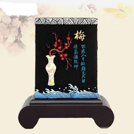 CH032─福字碳雕活性炭雕工藝品擺件家居裝飾品客廳新房結婚生日禮品創意(炭雕款梅蘭竹菊)