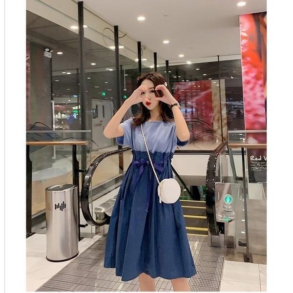 漂亮小媽咪 韓系洋裝 【D2127】 小清新 繫腰帶可調整 高腰 繫腰 短袖 洋裝 孕婦裝洋裝