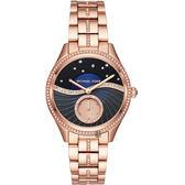 【廣告主打款 Michael Kors】銀河星空小秒針手錶-藍x玫塊金/38mm MK3723