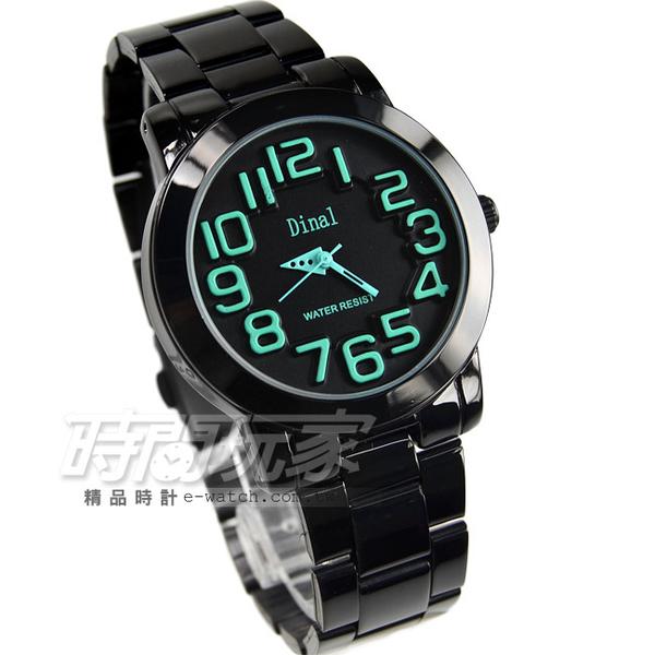 Dinal 時尚數字時刻腕錶 綠x黑 IP黑電鍍 樂高 女錶/學生錶 D8162IP綠