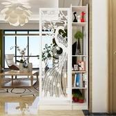 屏風 原創現代簡約孔雀雙面間廳玄關櫃隔斷置物架屏風裝飾櫃隔斷櫃【快速出貨】