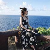 正韓印花夏裝正韓小清新吊帶長裙碎花雪紡連衣裙度假沙灘裙女 森雅成品
