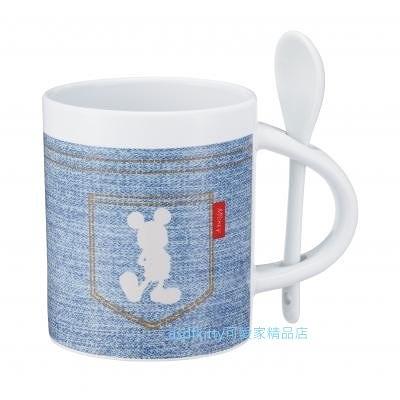 asdfkitty可愛家-內海產業 米奇牛仔陶瓷馬克杯-350ML-附湯匙-淺藍色-日本正版商品