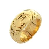 BVLGARI 寶格麗 幾何圖案18k金寬版戒指 Alveare Band Ring 【BRAND OFF】
