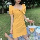 可鹽可甜洋裝小個子夏季新款法式復古氣質收腰輕熟風淡黃色裙子 小艾新品
