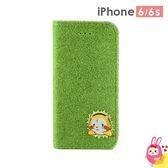 Hamee 日本 Shibaful 草地草皮 4.7吋 iPhone6s/6 手機皮套 刺繡 拉斯卡爾 (小浣熊) SBF-FPC06