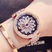 新款滿鑚大錶盤手錶女潮流防水簡約石英錶時來運轉鋼帶時裝錶