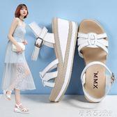 白色坡跟涼鞋女厚底防水台鬆糕鞋女式網紅高跟仙女鞋 茱莉亞嚴選