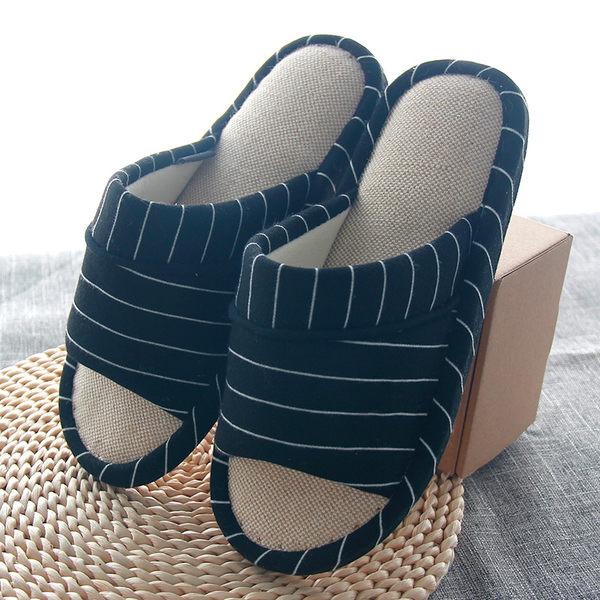 亞麻拖鞋男 夏季室內防滑日式居家女情侶可愛臥室 四季條紋家居鞋【黑色地帶】