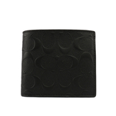 【COACH】C LOGO壓紋皮革零錢袋對開短夾(黑色)F75363 BLK