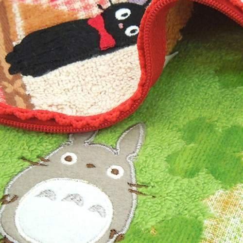 宮崎駿 龍貓 TOTORO 特殊造型 毛巾拉鍊收納袋/小方巾 龍貓草原100%棉質該該貝比日本精品 ☆