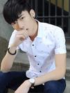 夏季男士短袖襯衫男休閒寸衫韓版修身時尚潮流帥氣青少年印花襯衣『潮流世家』