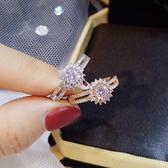 戒指 歐美裝飾鑲鑽石誇張戒指女食指環網紅氣質戒子韓國不褪色配飾品 快速出貨