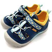 《7+1童鞋》中童 日本 MOONSTAR 月星  護趾 透氣 魔鬼氈 機能涼鞋  C479 藍色