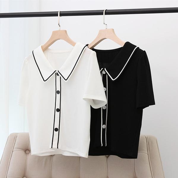 *ORead*韓版娃娃領薄款顯瘦純色夏季短袖T恤(2色XL~4XL)