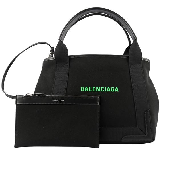 【BALENCIAGA】NAVY CABAS 帆布手提包/子母包(黑色/螢光綠) S 339933 2HH7N 1063
