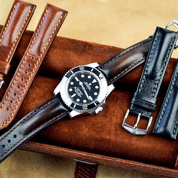 【台南 時代鐘錶 海奕施 HIRSCH】小牛皮錶帶 Lucca Artisan L 深棕色 附工具 04902010 仿舊復古感