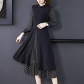 降價兩天 中年媽媽長袖連衣裙 早秋裝2020年新款拼接雪紡洋裝 氣質顯瘦中長款裙子