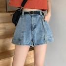 牛仔短褲 夏季高腰牛仔短褲女2021年新款寬鬆顯瘦a字熱褲子韓版闊腿直筒褲 韓國時尚 618