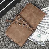 瘋馬PU皮復古長款錢包手機包潮流鉚釘中長款錢包抽繩男女手機包