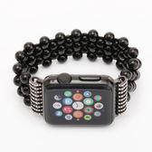 Apple watch黑瑪瑙款手表帶蘋果手表帶iwatch純手工表帶【韓衣舍】
