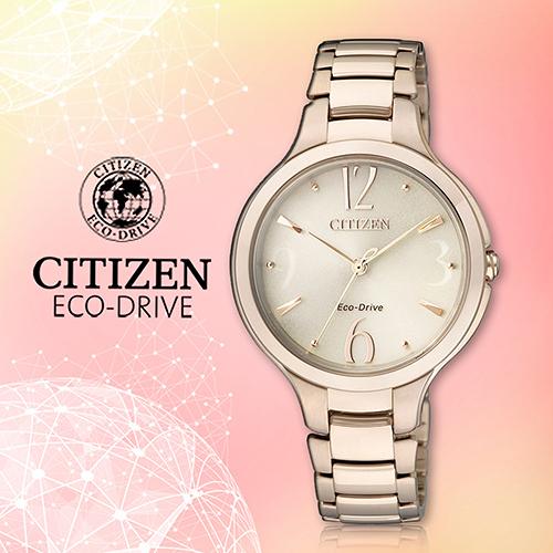 CITIZEN 星辰手錶專賣店 EP5992-54P 女錶 Eco-Drive光動能日系 不鏽鋼錶殼錶帶 玫瑰金 藍寶石水晶鏡面