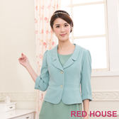 【RED HOUSE-蕾赫斯】翻領短版褶線西裝外套(共二色)