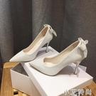 細跟氣質高跟鞋設計感小眾法式名媛銀色尖頭單鞋女2020年新款春秋 小艾新品