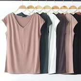 無袖上衣 無袖T恤女夏季V領短袖寬鬆薄款上衣莫代爾媽媽百搭純色大碼打底衫-Ballet朵朵