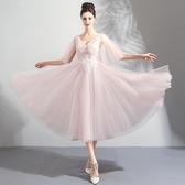 歐尚-森系仙女 粉色短款新娘婚紗生日小禮服伴娘服批發6691