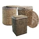 峇里島休閒風 鋼線結構手工天然柳編有蓋收納籃/洗衣籃(大籃)