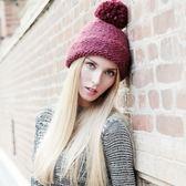 羊毛帽-時尚保暖可愛毛球女針織帽3色73id35[時尚巴黎]