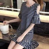 2019 夏 條紋荷葉袖t 恤女中長款修身荷葉邊漏肩連衣裙105 (T345 B 愛尚布衣