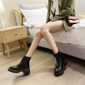 亮面馬丁靴女增高小個子厚底漆皮高跟短靴女前拉鏈秋冬季加絨保暖 非凡小鋪