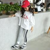女童七分袖t恤洋氣中大童寬鬆8韓版蝙蝠衫潮