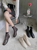 短靴 2020秋季新款韓版靴子女簡約復古英倫風百搭切爾西靴方頭粗跟短靴 俏girl
